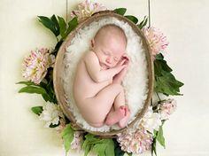 antique style newborn baby portrait