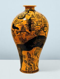Grayson Perry - Balloon, 2004 Telling a modern story using traditional building and glazing techniques, grade Grayson Perry, Arlene Shechet, Glazing Techniques, Roseville Pottery, China Art, Contemporary Artists, Contemporary Ceramics, Ceramic Artists, Map Art