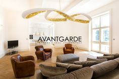 Bright living-room with high-Quality parquet, lavish windows, leather chairs and designer ceiling lamp in white and gold. Lighting Concepts, Leather Chairs, Ceiling Lamp, Luxury Real Estate, Vienna, Luxury Homes, Living Rooms, Bright, Windows