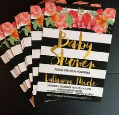 Invitations at a Kate Spade baby shower party! See more party ideas at http://CatchMyParty.com!