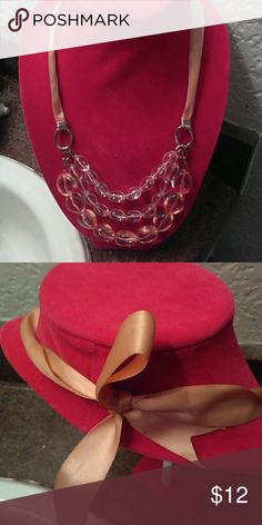 Pretty In Pink Necklace Ties in back.  Good condition. Plastic pink stones Jewelry Necklaces