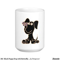 AG- Black Puppy Dog with Butterfly on Nose Travel Mug