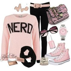 This is super cute for my girls although they are not nerds!                           Outfits-with-Converse-Sneakers-for-2013-for-Women-by-Stylish-Eve_17.jpg (598×598)