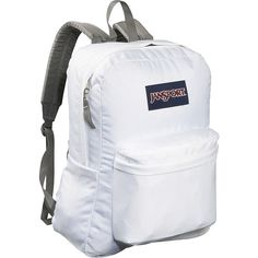JanSport SuperBreak Backpack ($35) ❤ liked on Polyvore featuring bags, backpacks, school & day hiking backpacks, white, jansport, jansport daypack, padded bag, strap backpack and padded backpack
