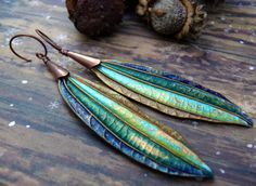 Cool Side of the Rainbow - wearable art polymer clay green blue copper ultra long organic tribal leaf earrings. by PreciousViolet on Etsy