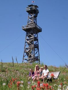 Hat Point (fire lookout) Tower with Wildflowers.  A Hell's Canyon blog...