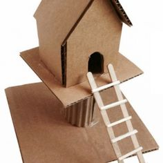 Cardboard Treehouse. Diagram available. #artprojectsforkids