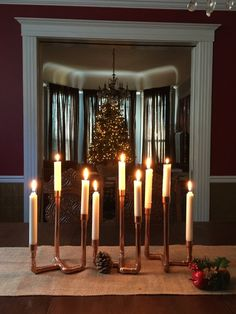 Items similar to Industrial Copper Pipe Candle Holder, Holiday Candelabra, Wedding Centerpiece, Rust Candelabra Wedding Centerpieces, Unique Centerpieces, Christmas Centerpieces, Candle Centerpieces For Home, Copper Home Accessories, Copper Candle Holders, Copper Tray, Christmas Candle Holders, Pipe Lamp