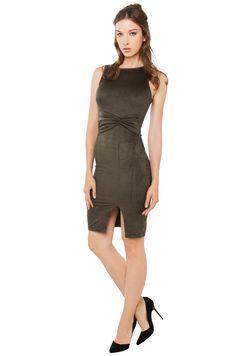 Sexy Scoop Neck Bodycon Midi Dress in Olive | AKIRA