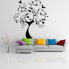 Vinyl Wall Decal Huge Tree With Butterflies & Leaves / Forest Art Decor Sticker / Home DIY Mural  + Free Random Decal Gift