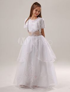 b6ecf7fcd27 White Flower Girl Dresses Embroidery Satin Ruched Sash Kids Princess Ball  Gown Pageant Dress With Top