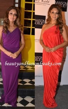 Wearing a one-shouldered draped red gown Gauri hosted a cocktail event at her interior design store. At another event she wore a purple Donna Karan gown