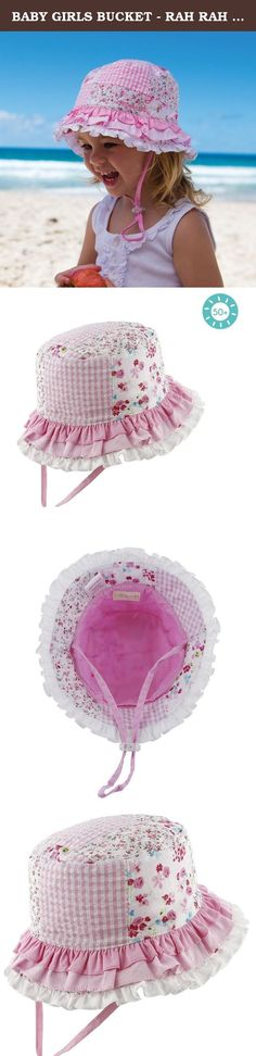 BABY GIRLS BUCKET - RAH RAH PINK - L. This unique Baby Girls Rah Rah Bucket Hat in pink is all ruffles, floral and patchwork, perfect for every playful little girl! With excellent sun protection, this hat is perfect for all outdoor activities and the soft pink and white hues make it easy to match with a multitude of outfits. Featuring a sweet three tiered ruffled brim in shades of white and pink, this measures 17 inches on the small size and ensures your little one is protected from the…