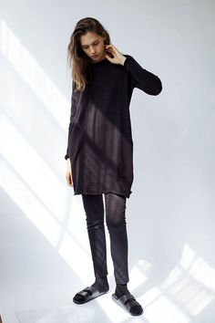 Black Knitted Tunic Long Soft Sweater Black Knit by KarinAClothing