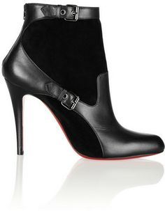 Christian Louboutin Canassone 100 buckled suede and leather ankle boots on shopstyle.com