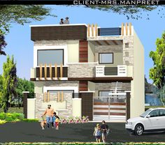 House Exterior Design, House Exteriors, House Design, Indian House Plans,  House Elevation, Building Elevation, Wall Design, Facade, Compound Wall