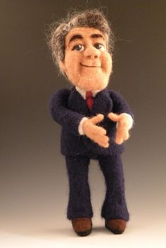 Li'l Jay Leno - a needle felted wool caricature doll by Kay Petal - Felt Alive Wool Sculptures - www.feltalive.com