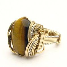 Handmade Wire Wrap Two Tone Sterling Silver/14kt Gold Filled Tiger Eye Agate Ring via Etsy