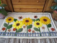 Sunflowers+Crochet+Rug...Knitted+Patchwork+Rug...Hand+made+room+decoration...