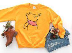 Winnie The Pooh Sketch Sweatshirt / Disney World Shirt / Piglet Eeyore Tigger Long Sleeve / Disney Shirts for Women Men Boys Girls Kids Cute Disney Outfits, Disneyland Outfits, Disney Inspired Outfits, Themed Outfits, Disney Style, Disney Clothes, Disneyland Trip, Disney World Shirts, Disney Sweatshirts