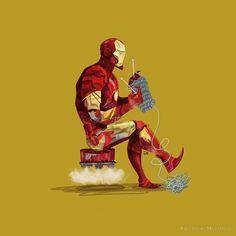 makinology: superheroes knitting … ~by karl james mountford mockingjaynfinch
