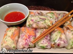 Vietnámi tavaszi tekercs Fresh Rolls, Vietnam, Ethnic Recipes, Food, Cilantro, Meal, Essen, Hoods, Meals