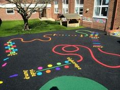 "interesting way to ""decorate"" the ground of a playground"