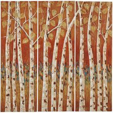 Sunset Birch Tree Triptych Art