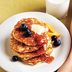 Cooking Light Oatmeal Pancakes.  These are so good and healthy!  Serve with blueberries, or I love them with applesauce (and pure maple syrup, of course)!