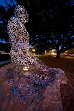Artist Jaume Plensa's Tolerance sculptures on Allen Parkway in Houston Texas
