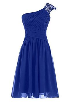 Lovely One Shoulder Blue Short Beaded Prom Dresses, Short Prom Dresses, Blue Prom Dresses