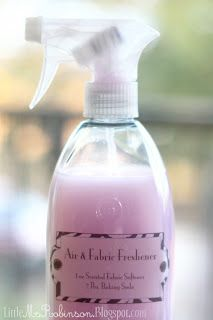 Air & Fabric Freshener 1 oz. of Scented Fabric Softener 2 Tbs. Baking Soda Fill remaining space with Water This is a 'fake febreze' recipe that I love! It has the fabric softener for scent (which you can buy in so many more cents than fabreze!) and the baking soda for odor elimination. The coloring will come from whatever hue your softener contains. Again, most of this is JUST WATER.