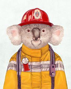 Koala Firefighter Art Print Koala portrait Art for by AnimalCrew