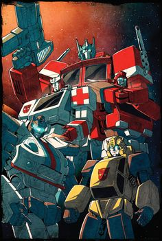 Beamer Bots by ~dcjosh on deviantART - Transformers Optimus Prime, Ratchet, Jazz, and Bumblebee