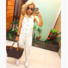 Dujour - BiancaCoimbra is wearing Converse Sneakers, Dress To Jumpsuit, Louis Vuitton Bag and Ray Ban Glasses