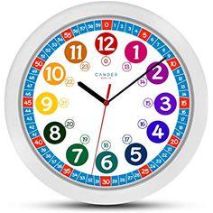 Cander Berlin MNU 1030 Kinderwanduhr (Ø) cm Kinder Wan Green Wall Clocks, Wall Clock Light, White Clocks, Math Clock, Learning Clock, 24 Hour Clock, Learn To Tell Time, Clock Numbers, Flashcards For Kids