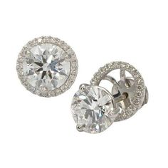3CT-ROUND-WHITE-MOISSANITE-SOLITAIRE-HALO-STUD-EARRINGS-14K-WHITE-GOLD