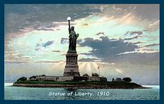 Olde America Antiques | Quilt Blocks | National Parks | Bozeman Montana : Statue of Liberty Nat Monument - Statue of Liberty in Evening