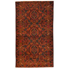 Herat Oriental Afghan Hand-knotted Tribal Balouchi Navy/ Rust Wool Rug (3'7 x 6'4)