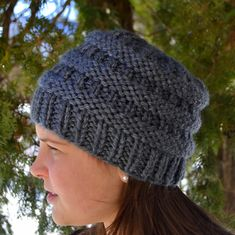 Knit Chunky Beanie Hat BoxCar Hand Knit in CHARCOAL by Gone2Pieces