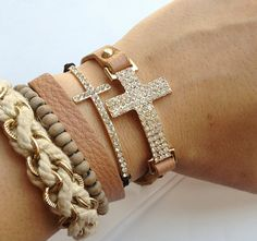 Curved Crystal Cross  Black Pull Bracelet by LuckyYouLuckyMe, $19.00 <3 this!