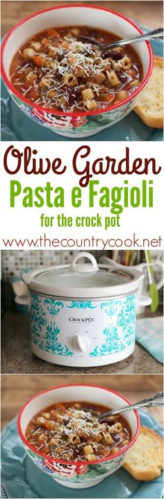 The Country Cook: Olive Garden Pasta E Fagioli Soup {Crock Pot} A wonderful flavor packed soup filled with beans, hamburger, and pasta. The perfect soup to warm you up on cold, blustery days.