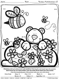 Bee A Buzzing Mathematician ~ Math Printables Color By The Code Puzzles To Practice Addition And Subtraction Math Skills ~This Unit Is Aligned To The CCSS. Each Page Has The Specific CCSS Listed.~ This set includes 4 math puzzles to practice math skills. Answer Keys Included. $
