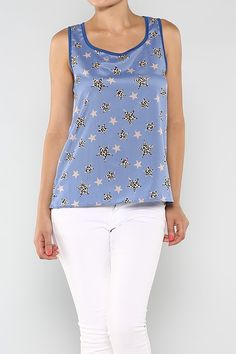 Leopard Star Top #wholesale #blue #clothing #fashion #summer #love #ootd #wiwt #shorts #skirts #dresses #tanks