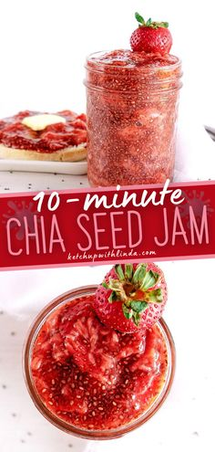 Strawberry Chia Jam is the perfect, sweet, and fresh addition to your toast, bagel, or muffin. It's delicious all on its own but, definitely will do a great job of jazzing up other foods as well. Make this family-friendly homemade recipe! Jam Recipes, Other Recipes, Whole Food Recipes, Strawberry Chia Jam, Homemade Recipe, Homemade Food, Juicy Fruit, Food Words, Vegan Breakfast Recipes