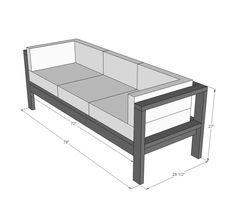 Build your own outdoor sofa with just 11 Ana White plans include step by step diagrams and shopping and cut list. We also have a plans to convert this sofa to an outdoor sectional, a matching outdoor coffee table plan, and outdoor wood finishing secrets. Diy Sofa, Diy Furniture Couch, Pallet Furniture, Furniture Projects, Furniture Design, Diy Projects, Modern Furniture, Antique Furniture, Furniture Logo