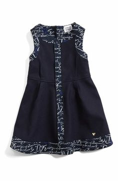 Armani Junior Sleeveless Logo Trim Dress (Toddler Girls) available at #Nordstrom