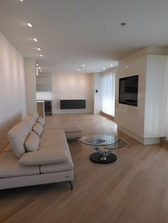 Living room at Somerset Penthouse; media center designed and installed by AAI-Poggenpohl.