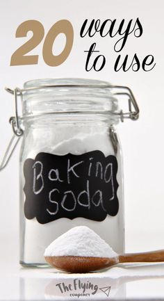 20 Ways to Use Baking Soda Around the House. Clever Ways To Use Baking Soda. Uses for health, for cleaning, for face, hair, beauty, mask, bed. The Flying Couponer.