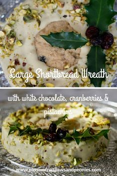 Shortbread makes a great edible gift for foodies at Christmas time. I've made this large shortbread wreath with white chocolate, cranberries and pistachio. It's big enough to make a generous present (it serves Edible Gifts, Christmas Time, Christmas Presents, Shortbread, White Chocolate, Sweet Recipes, Foodies, Sweet Treats, Cranberries